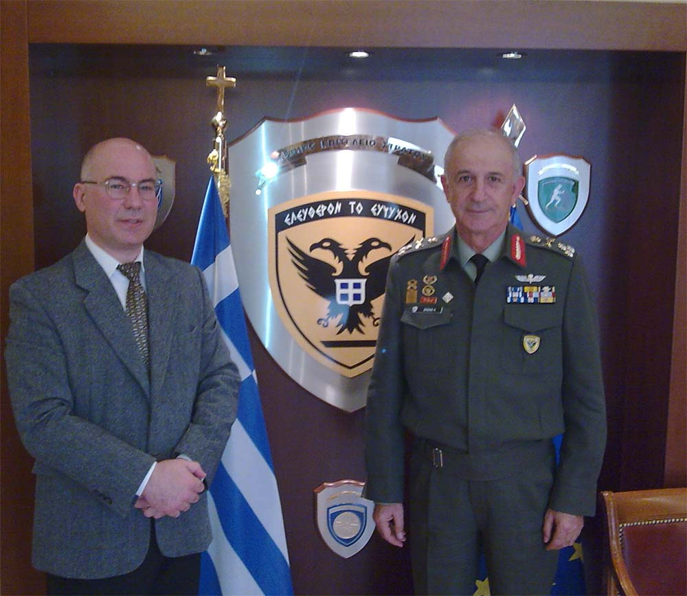 The Chief of the Hellenic Army General Staff General Konstantinos Ziazias with Prof. Theodore Liolios at the Hellenic Army General Staff
