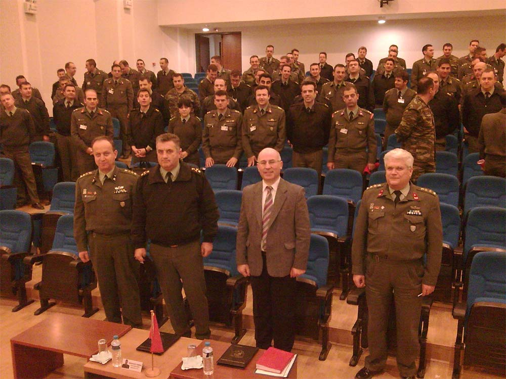 Dr. Theodore Liolios in the auditorium of the Hellenic Army Command and Staff College before a lecture on thermobaric weapons.